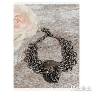 Steel and Stone Chainmaille Bracelet